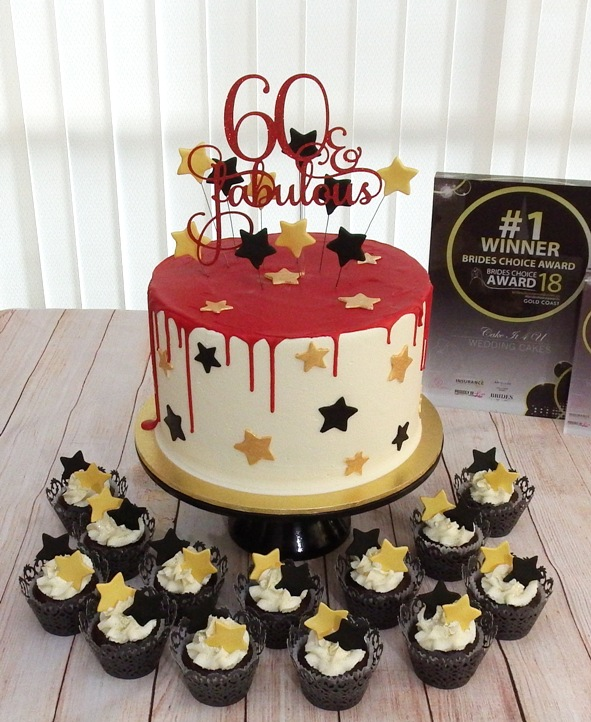 1 Tier buttercream with red choc drip an