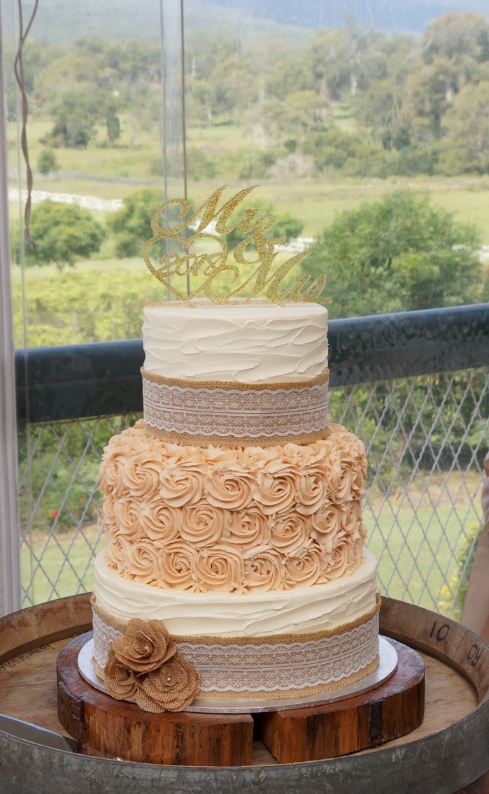 3 Tier with latte buttercream roses 1