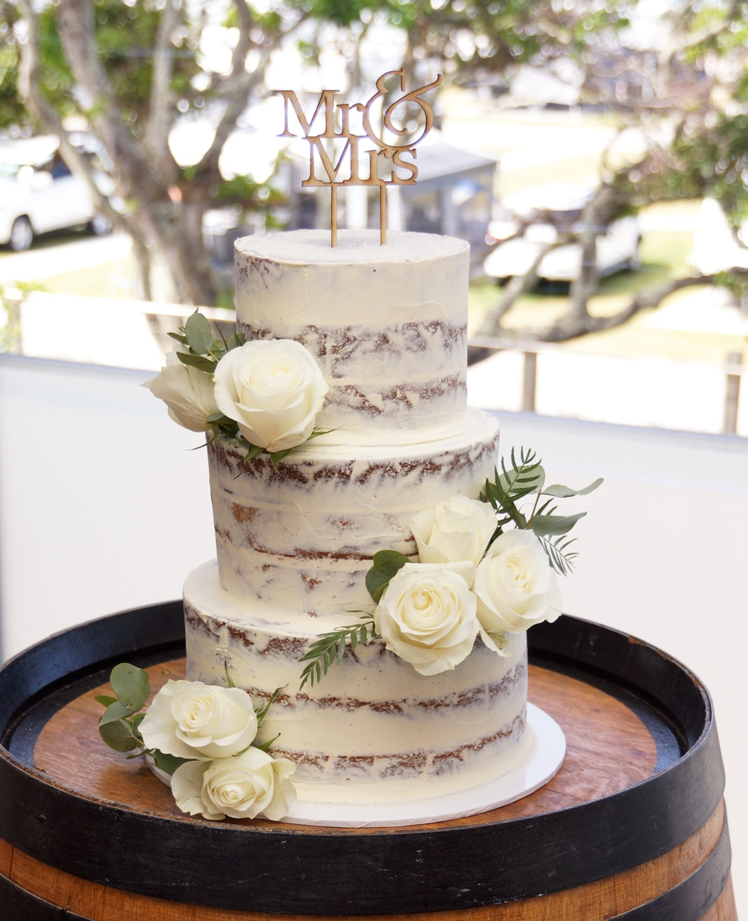 3 Tier semi Naked with fresh flowers 9