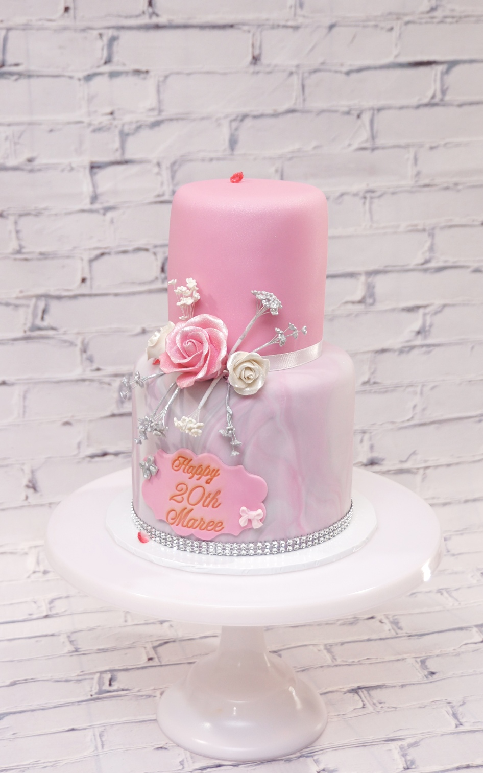 2 Tier marble and pink fondant with suga