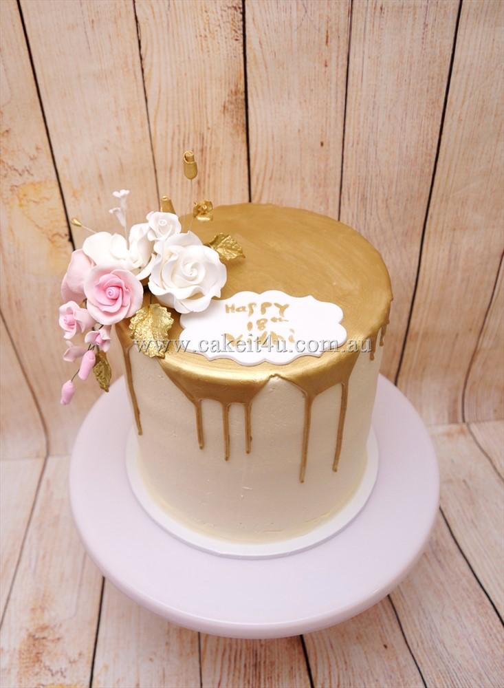 1 Tier Buttercream with Gold Choc Drip & sugar flowers