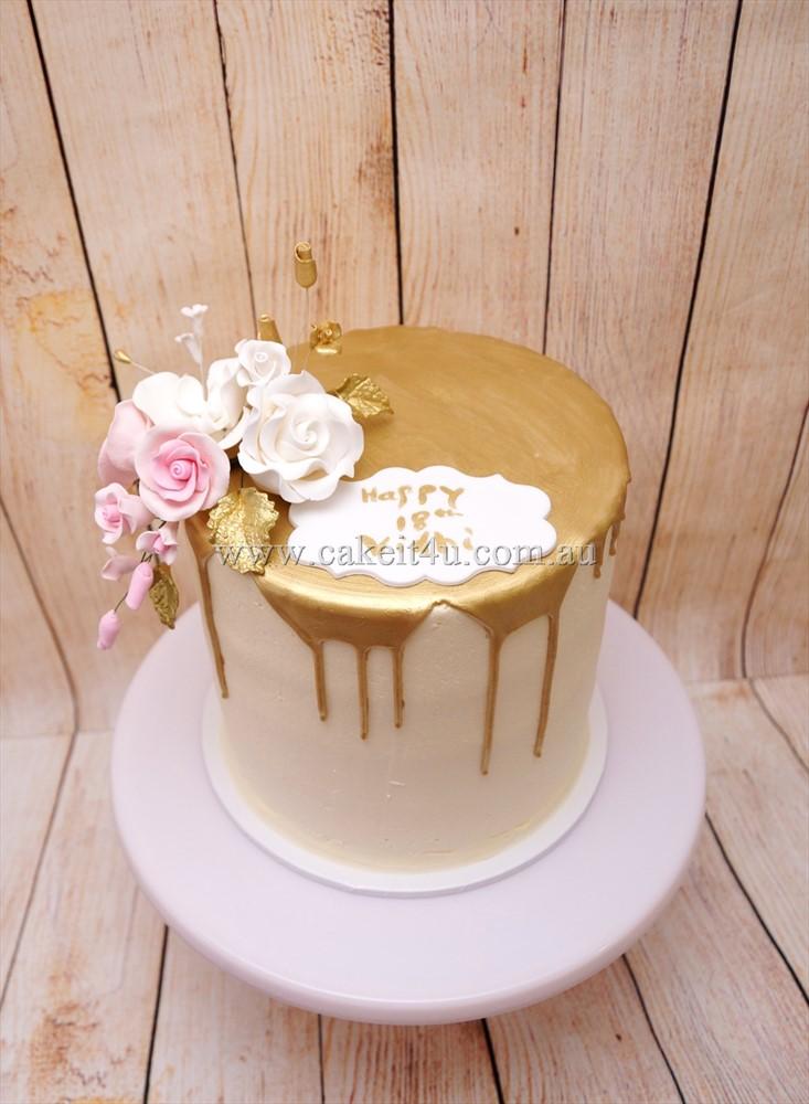 1 Tier Buttercream with Gold Choc Drip & sugar flowers