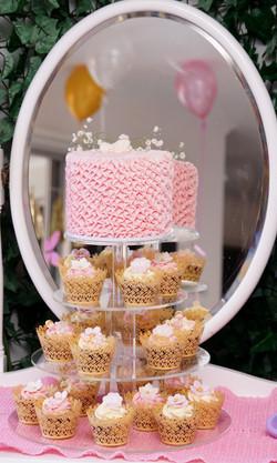 Pink buttercream ruffle cupcake tower 1.