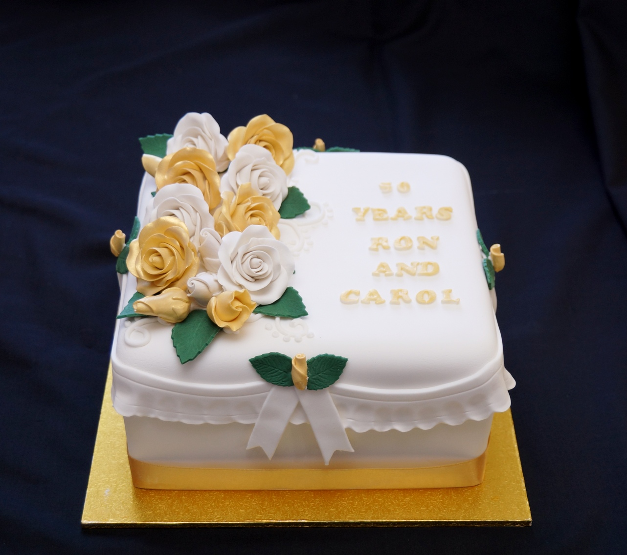 White and Gold Square Anniversary Cake 1