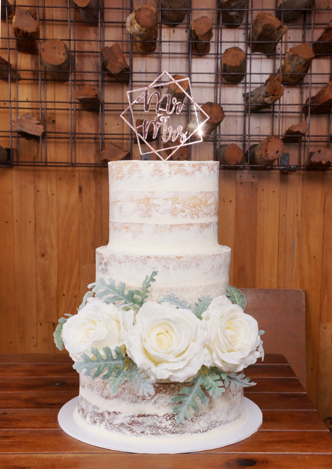 3 Tier Semi Naked with silk flowers 1