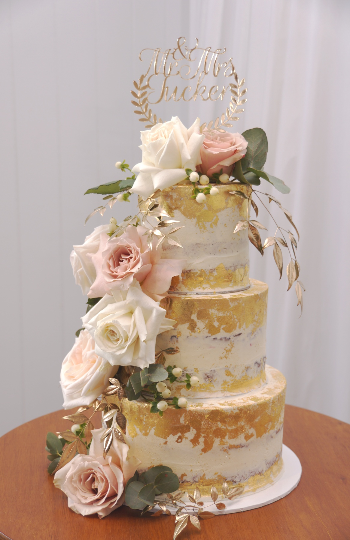 3 Tier Semi Naked with gold leaf and Fre
