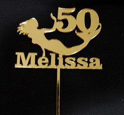 50 with Mermaid & Name - Gold Mirror