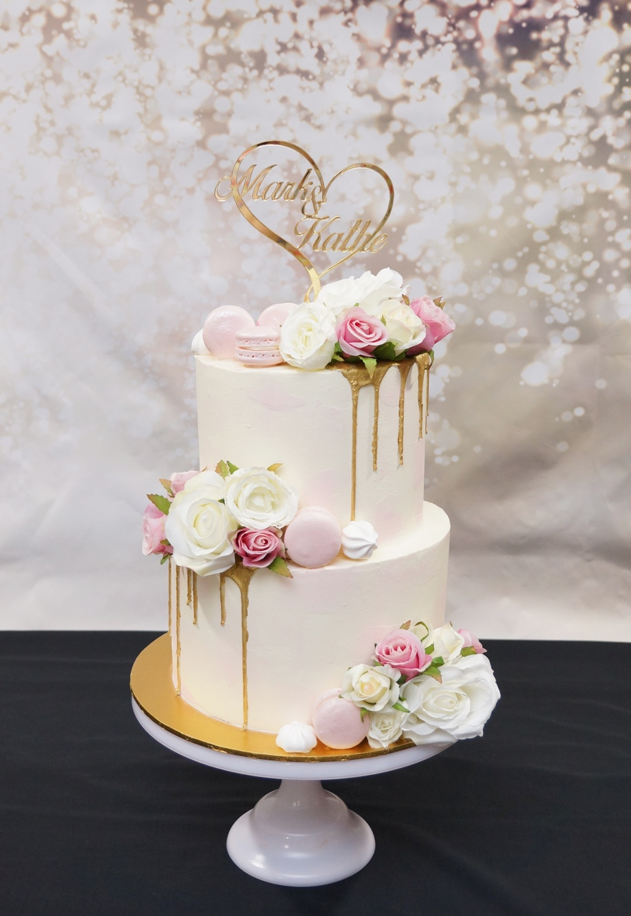 2 Tier White & Pink buttercream with gol