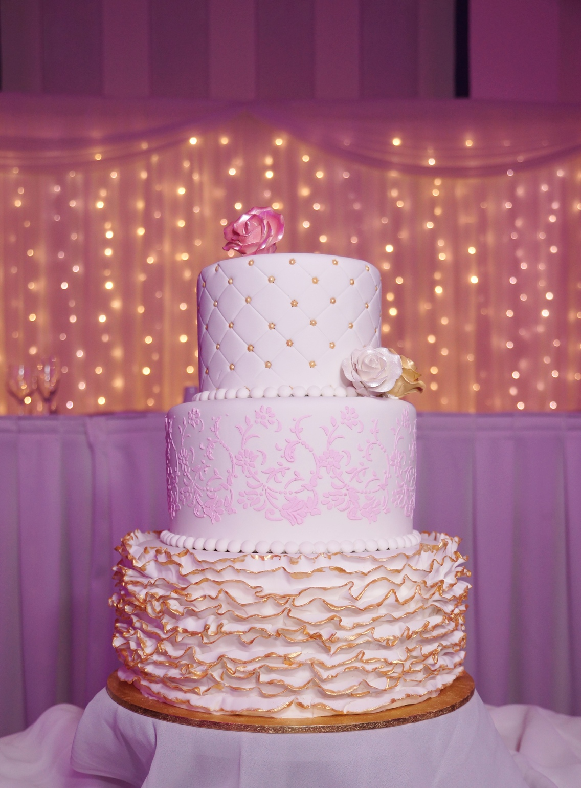 White fondant with pink & gold highlight