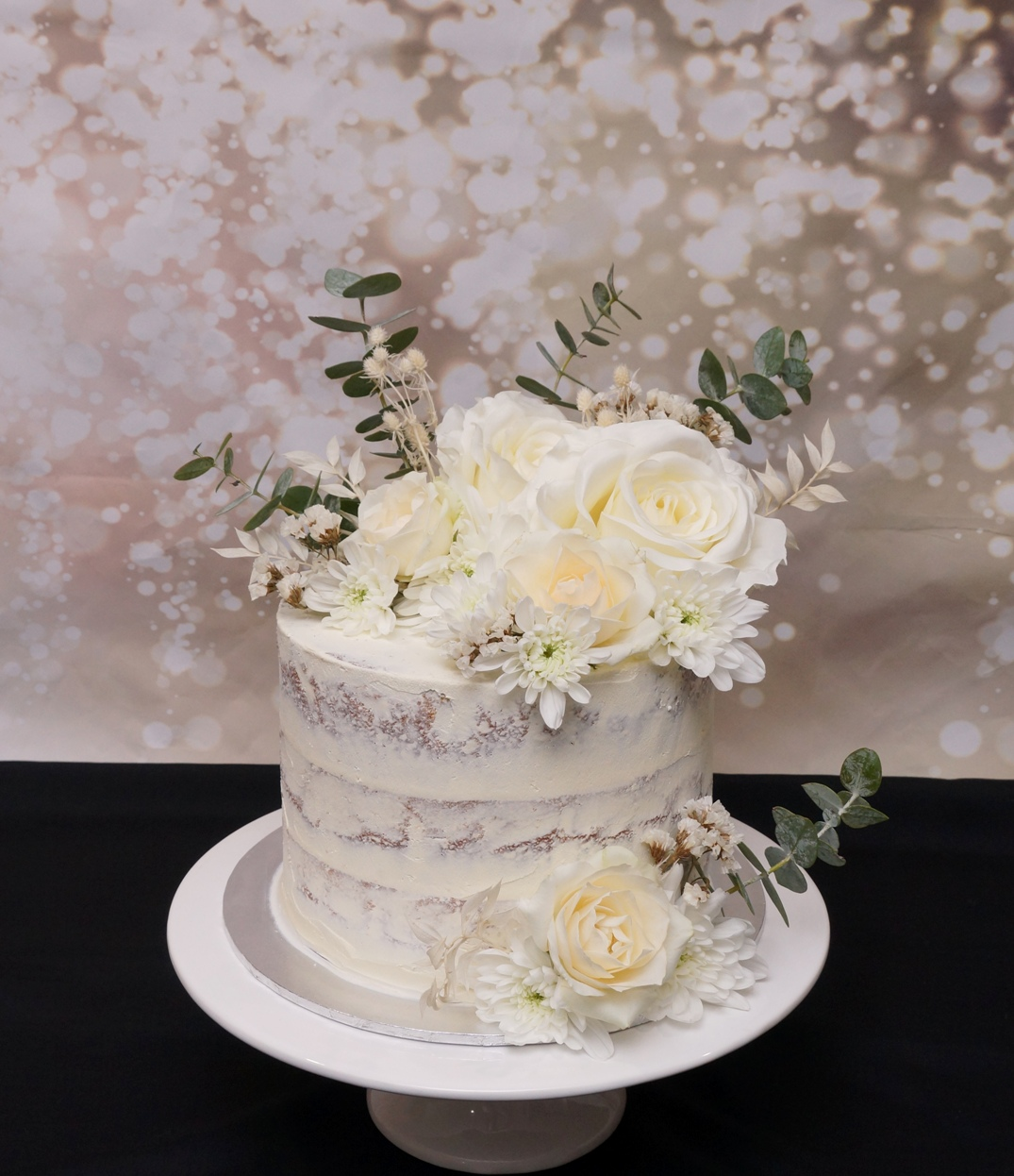 1 Tier Semi Naked with White florals 2