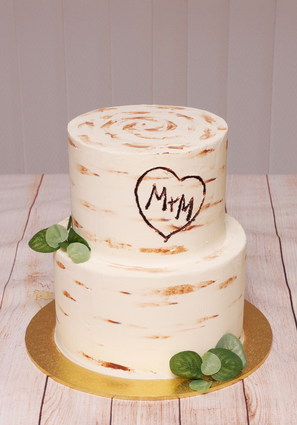 Tree Trunk Engagement Cake with engraved
