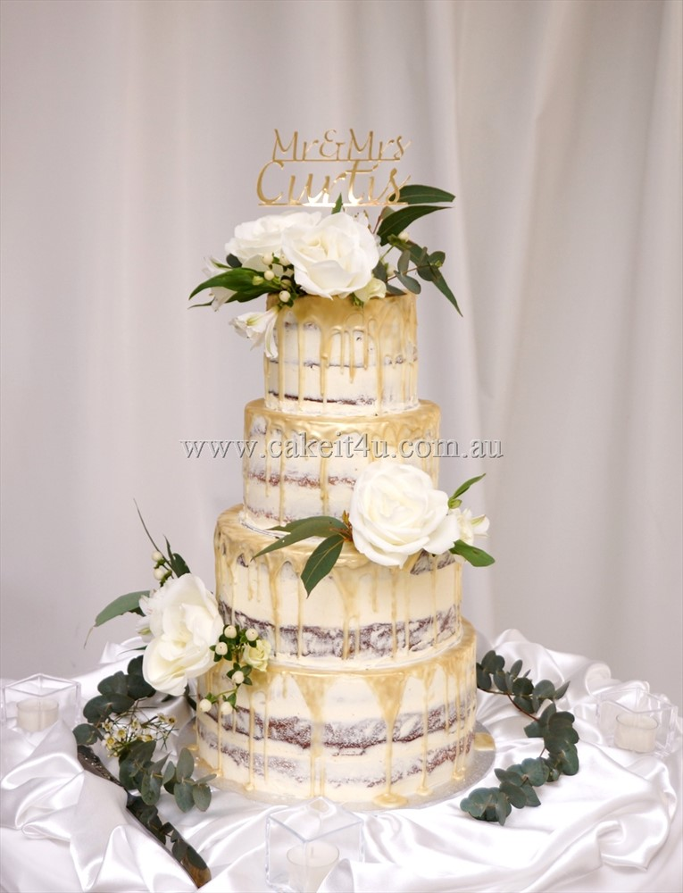 4 Tier Semi Naked with Gold shimmer chocolate drip and fresh flowers 2