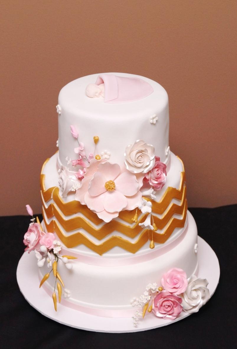 Pink flower baby shower cake 1