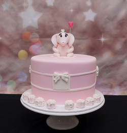 Pink Baby Shower Cake with Pink Elephant 1
