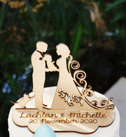 Bride & Groom with baby & cat Cake Toppe