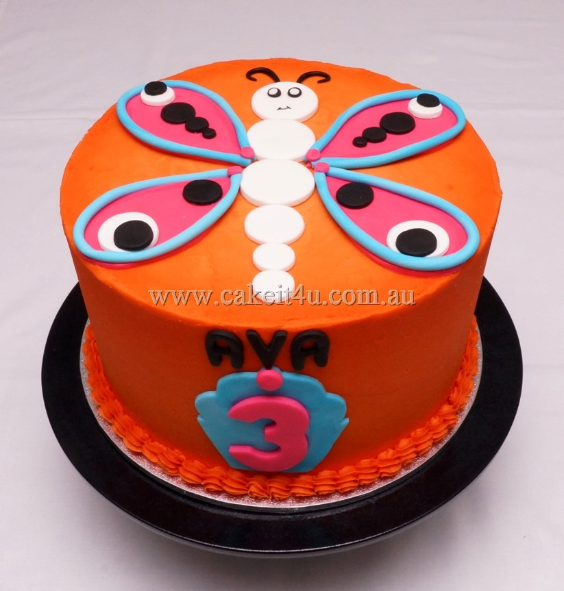 Orange Buttercream with Butterfly