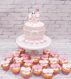 Pink Baby Shower Cake with Pink Elephant
