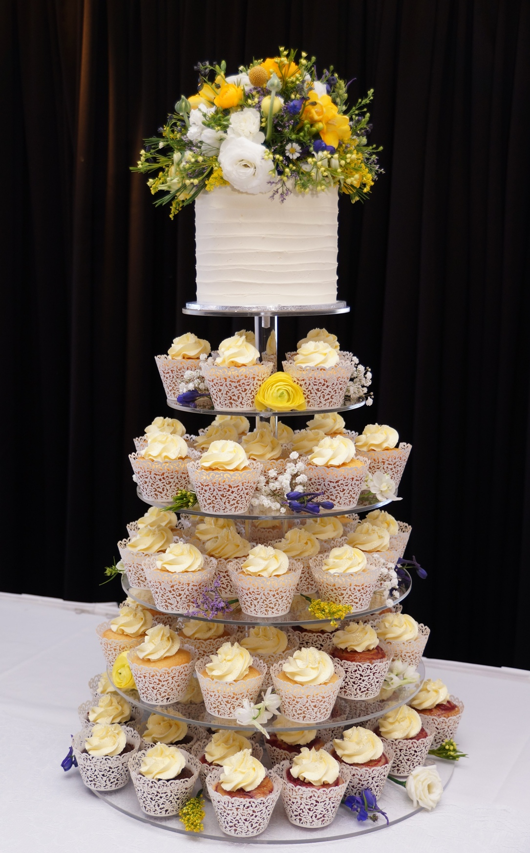 Cupcakes Tower with cottage flowers 1