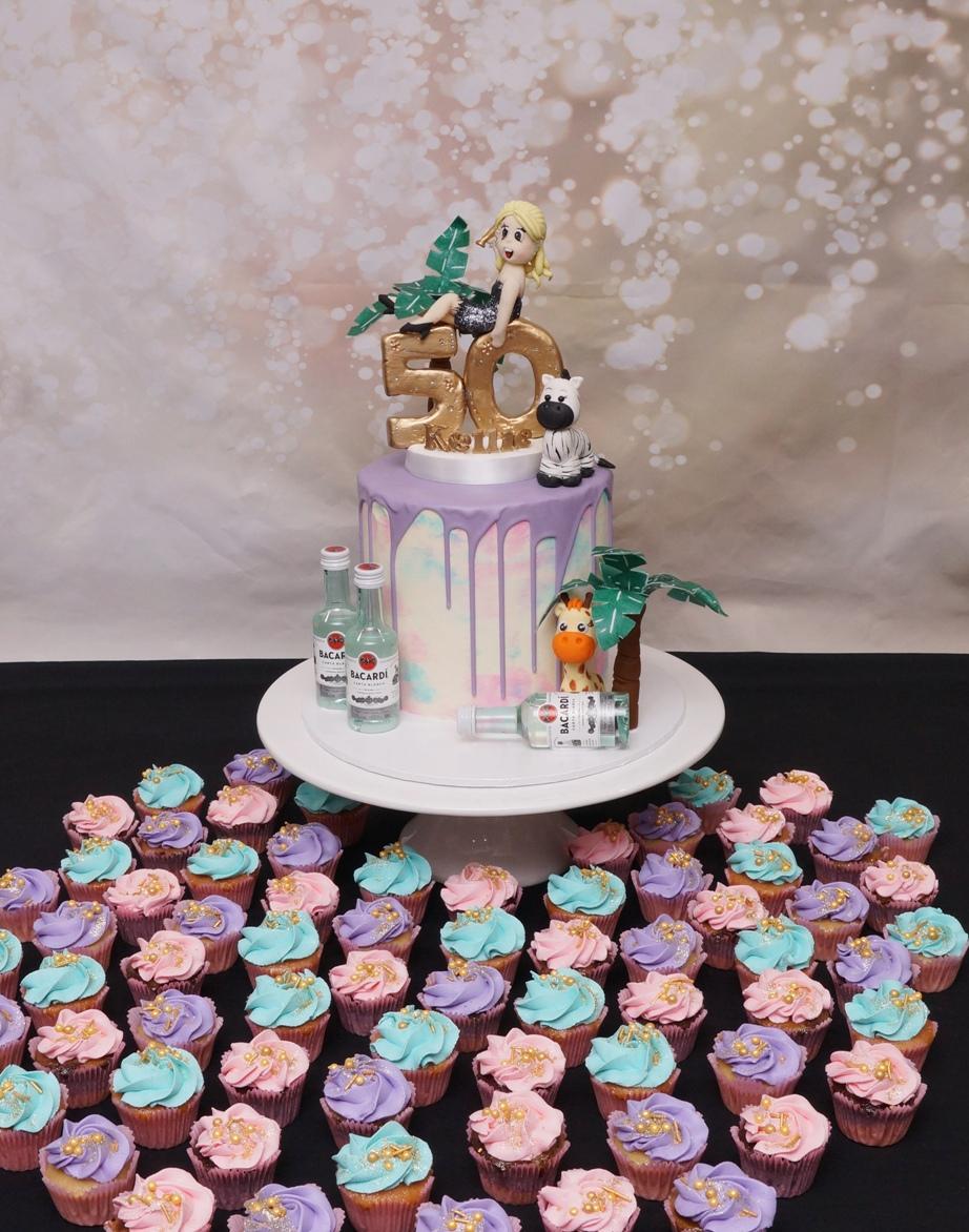 1 Tier Purple chocolate drip cake with K