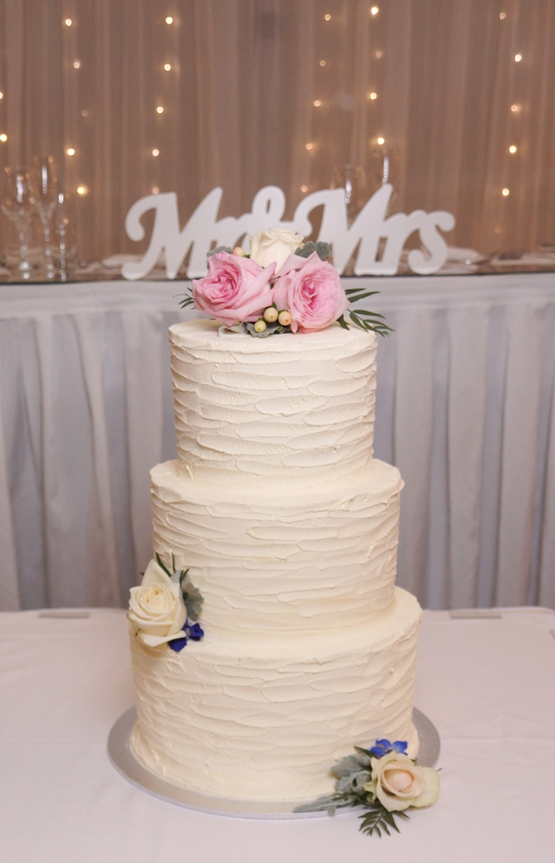 3 Tier Textured Buttercream with fresh f