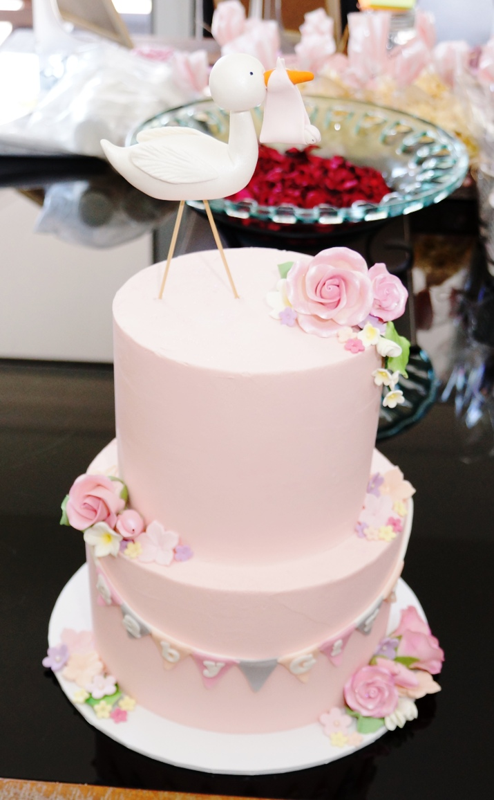 2 Tier Pink buttercream baby shower cake