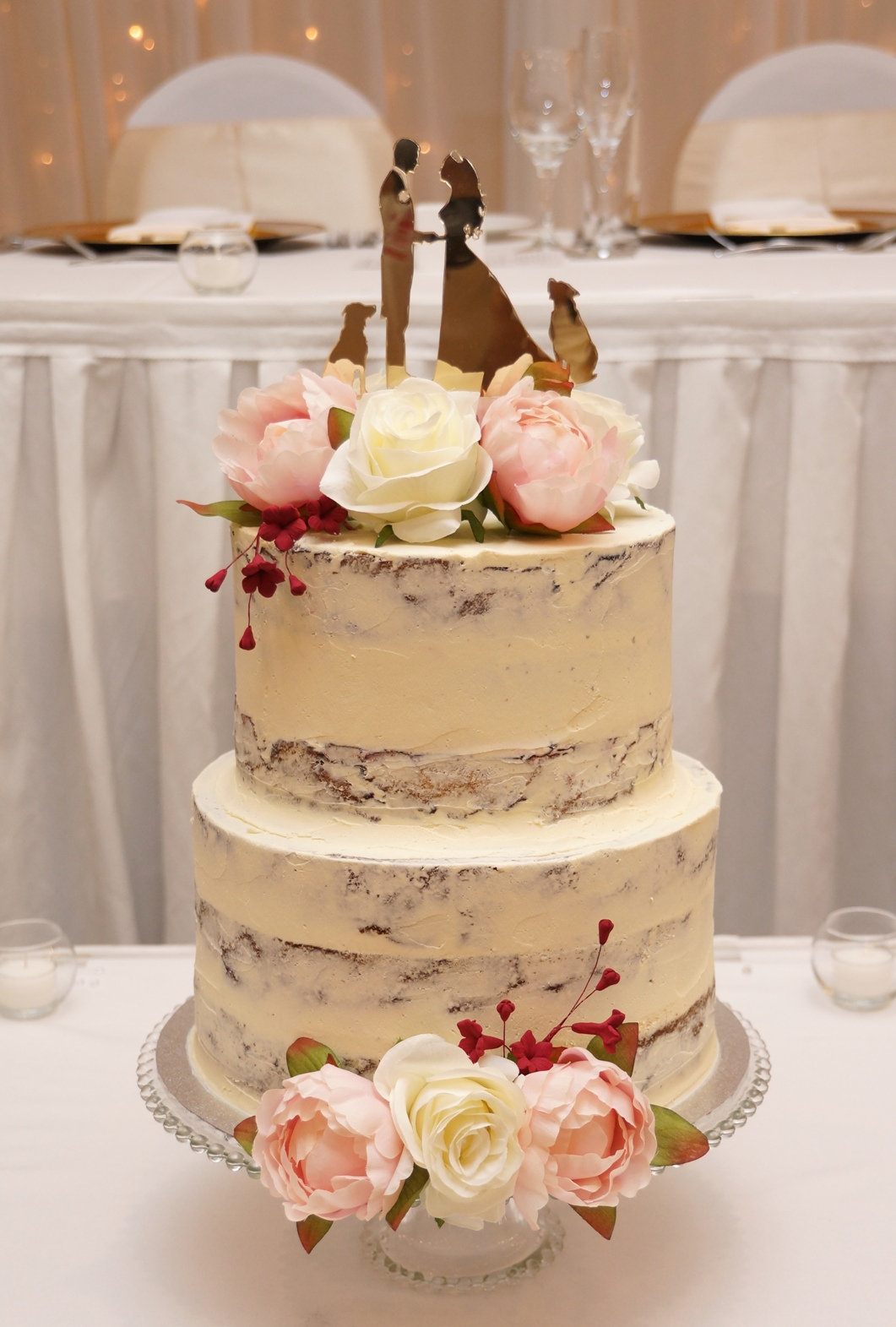 2 Tier Semi Naked with silk flowers 3