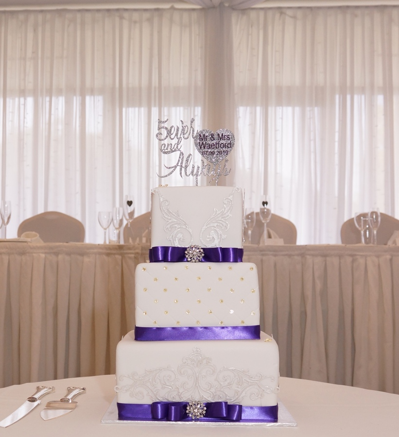 White Fondant with silver and purple 1