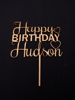 Wooden Happy Birthday Hudson Topper