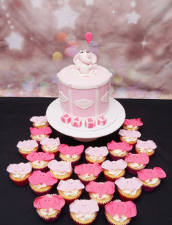 Pink Elephant Baby Shower cake with Cupc
