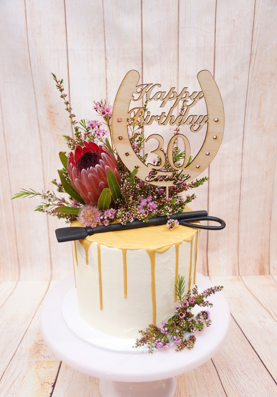 1 Tier smooth buttercream with caramel d