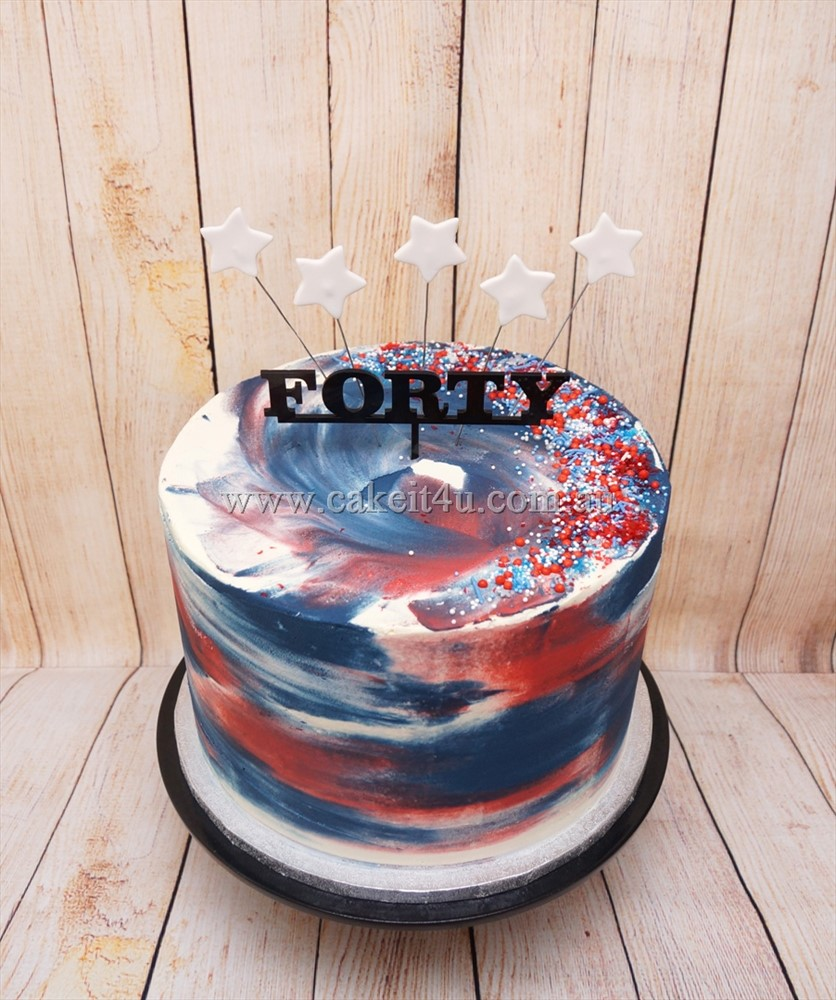 Red white and blue buttercream cake with stars