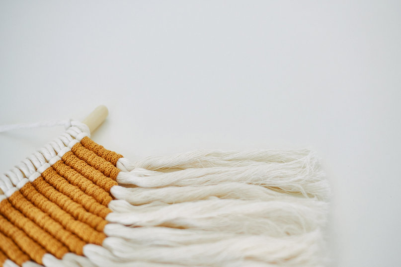 DIY craft white and gold macrame wall hanging