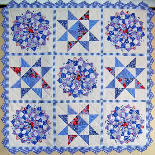 Paradisio quilt as you go pattern and Dresden plate template ruler