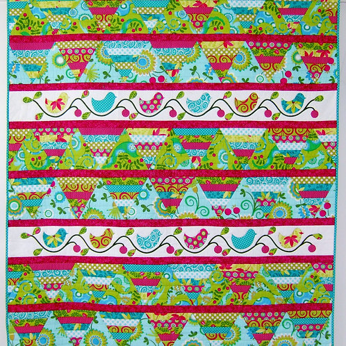 3x Pretty Birds Quilt as you go and Cushion Pattern Set