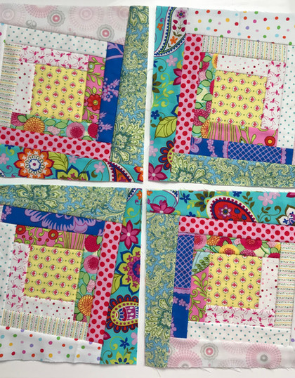 FREE QAYG-ALONG PART 2. SCRAPPY, KIND OF WONKY LOG CABIN BLOCK.