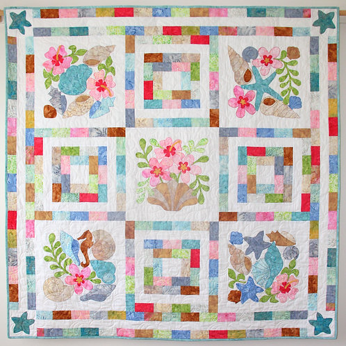 Pretty Beach quilt as you go pattern