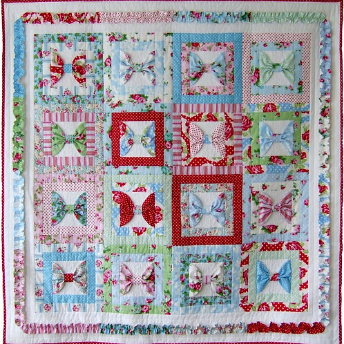 3x Beautiful Bows quilt as you go and cushion pattern