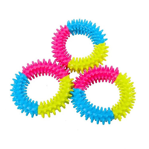 "4"" Dental Health Dog Ring - Rubber Spike Chew Toy - Helps Clean Teeth"