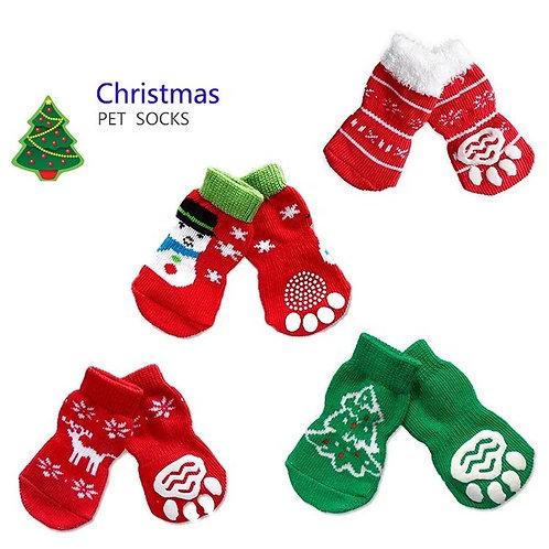 Small Christmas Dog Pet Socks Nonslip 4pcs set.