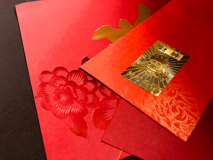 Auspicious Stickers | Gold Foil Embossing Texture