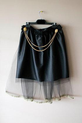 Satin Skirt with Mesh Train