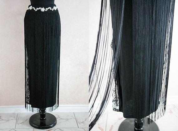 Art Deco Style Fringe Maxi Skirt