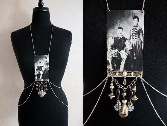 Silver Family Portrait Body Chain