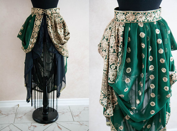 Sequin and Fringe Bustle Skirt
