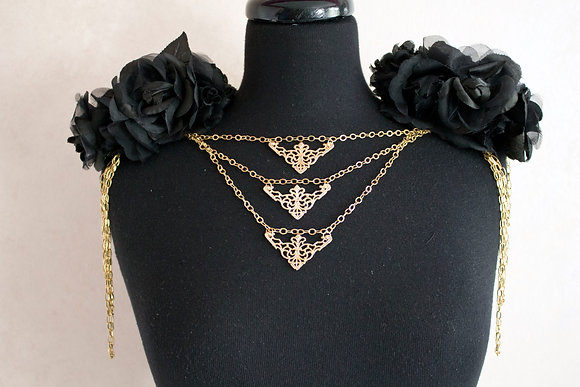 Black Floral and Chain Epaulets