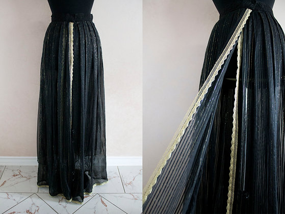 Pleated Black and Gold Pin Striped Skirt