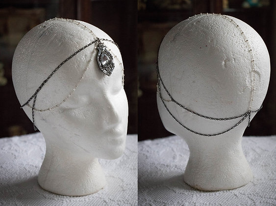Large Rhinestone Pendant Head Chain