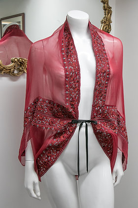 Red Draped Sequin Robe