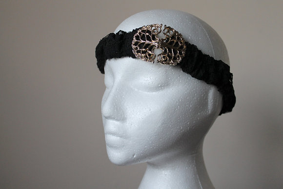 Vintage Gold Clasp Black Lace Headband