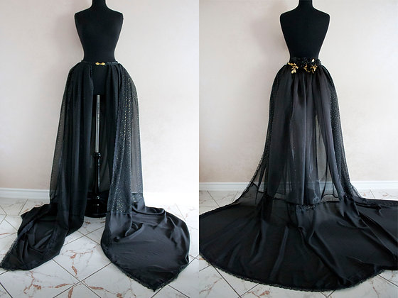 Black Bustle Skirt With Gold Polka Dots